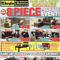 Surplus Furniture - 8 Piece Package Event! Flyer