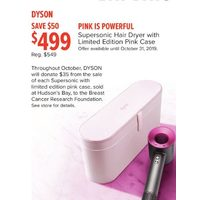 Dyson Pink Powerful Supersonic Hair Dryer With Limited Edition Pink Case