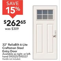 "32"" Reliabilt 6-Lite Craftsman Steel Entry Door"