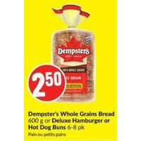 Dempster's Whole Grain Bread, Deluxe Hamburger Or Hot Dog Buns