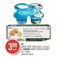 PC Large Free-Run Eggs Or Danone Oikos Greek Yogurt