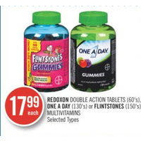 Redoxon Double Action Tablets, One A Day Or Flintstones Multivitamins