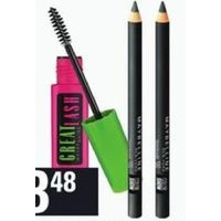 Maybelline Great Lash Mascara, Color Show Khol Eyeliner, Expert Wear Mono Eyeshadow or Baby Lips Balm