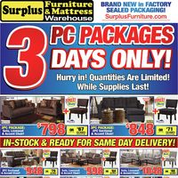 Surplus Furniture - 3-Piece Packages Flyer
