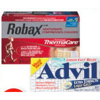 Robax Thermacare Heatwraps or Advil Pain Relief Products