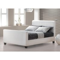 Hofburg White Faux Leather Bed Frame - Double