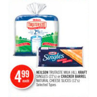 Neilson Trutaste Milk Kraft Singles or Cracker Barrel Natural Cheese Slices