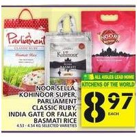 Noor Sella, Kohinoor Super, Parliament Classic Ruby, India Gate or Falak Basmati Rice