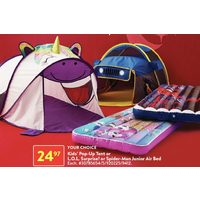 Kids Pop-Up Tent Or L.O.L. Surprise! Or Spider-Man Junior Air Bed