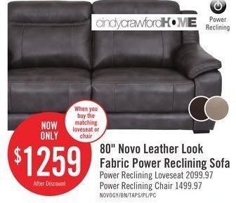 Admirable The Brick 80 Novo Leather Look Fabric Power Reclining Sofa Spiritservingveterans Wood Chair Design Ideas Spiritservingveteransorg