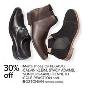 Men's Shoes by Pegabo, Calvin Klein, Stacy Adams, Sondergaard, Kenneth Cole Reacion, and Bostonian - 30% off