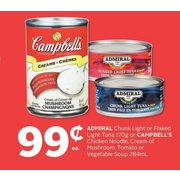 Admiral Chunk Light Or Flaked Light Tuna Or Campbell's Chicken Noodle, Cream of Mushroom, Tomato Or Vegetable Soup - $0.99