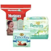 Huggies Or Pampers Baby Wipes Or Zincofax Diaper Cream Or Spray  - $7.99