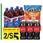 Coca-Cola, Canada Dry, Pepsi or 7up or Tostitos, Munchies or Sunchips - 2/$5.00