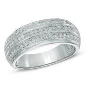 0.40 Ct. T.w. Diamond Triple Row Band In 10k White Gold - $489.30 ($209.70 Off)