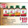 Jamieson Vitamin A, Vitamin B, Vitamin C, Vitamin D, Vitamin E Or Vitamin K Supplements - $1.00 off