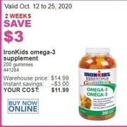 IronKids Omega-3 Supplement - $11.99 ($3.00 off)