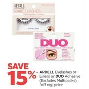 Ardell Eyelashes or Liners or Duo Adhesive - 15% off