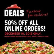 Pizza Hut: 50% Off All Online Orders Today!